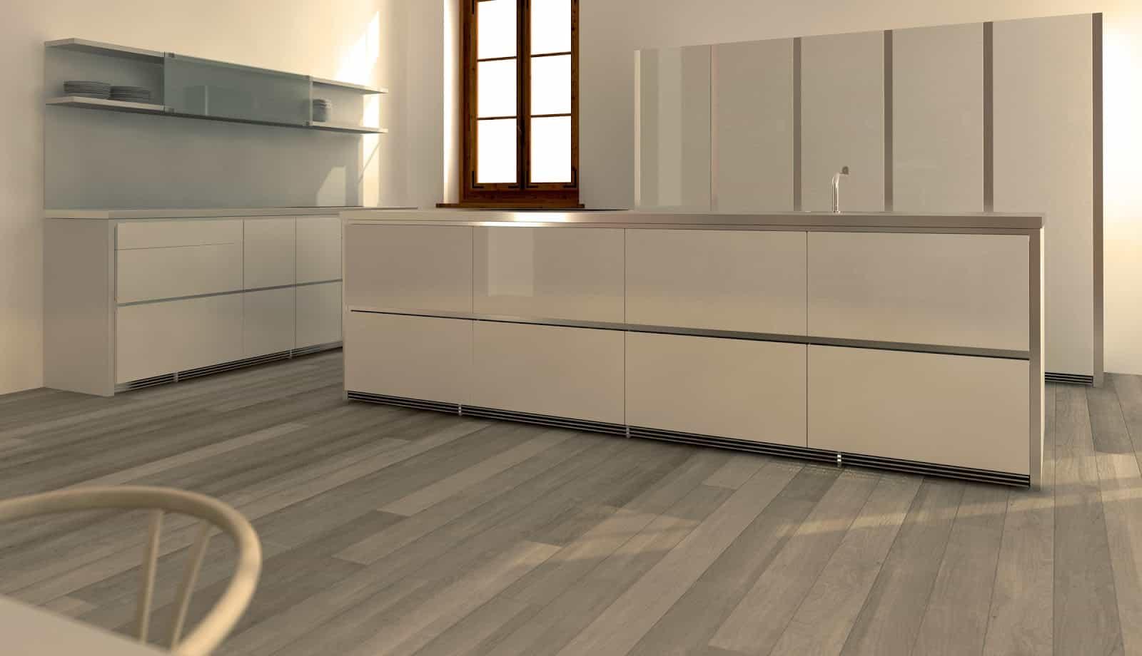 Minimalist glossy white modern kitchen (3D render)
