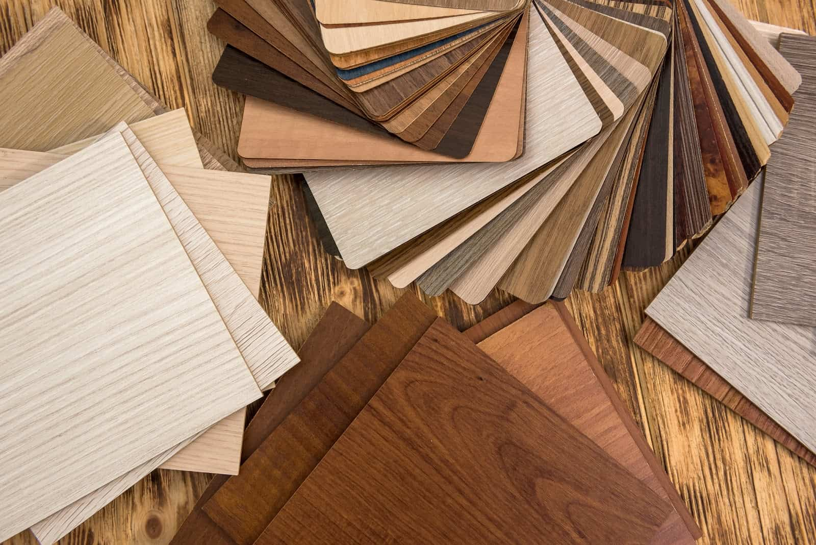 wooden color swatch choosing wood material for housing project.